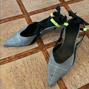 Zara kitten heel sling back gray plaid bow sz 38/8